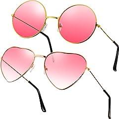 2 Paare Rosa Hippie Sonnenbrillen