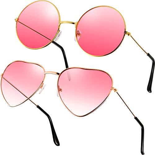 2 Paare Rosa Hippie Sonnenbrillen Retro Hippie Stil Sonnenbrillen Hippie Kostüm Sonnenbrillen Herren Damen Brillen (Rund und Herz Form)