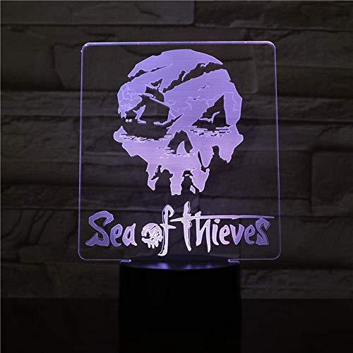 USB 3D LED Night Light Sea of Thieves Figure Décoration RVB Garçons Enfant Enfants Bébé CadeauxLampe de Table