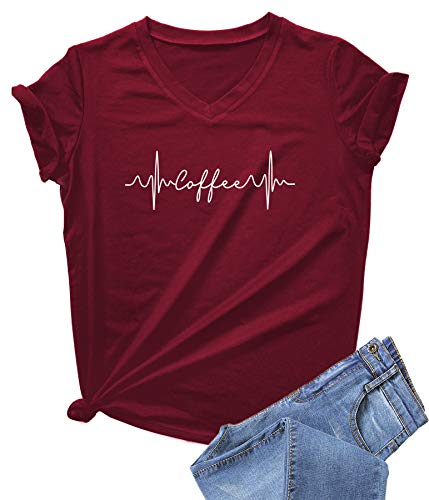 DANVOUY Womens Causal Short Sleeve V-Neck T-Shirt Graphic Tees Wine Red Large