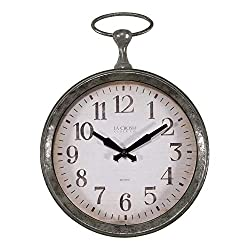 9-inch Round Pocket Watch Analog Wall Clock Green Industrial Plastic Metal Finish