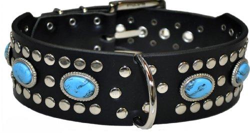 DayneQ 5cm Türkis Farbe echt Leder Hundehalsband Länge Wählbar