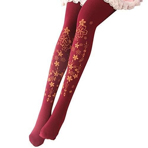 Sport Sokken Vrouwen Kousen Huid Kleur Mooie Lolita Panty Meisje S Panty's Leuke Japanse Sakura Cherry Blossom Print
