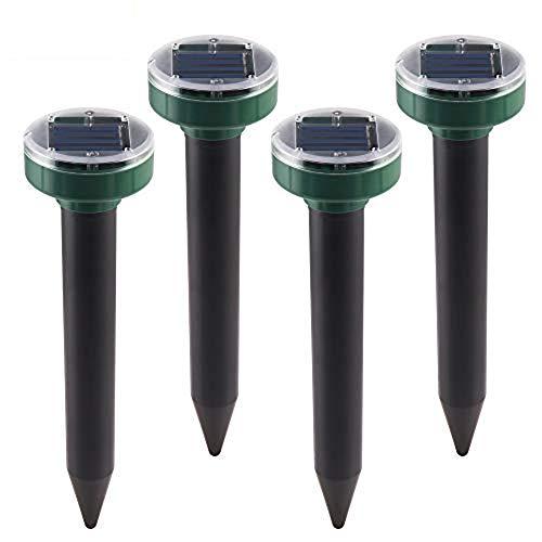 ABEDOE 4PCS Repellente ad Ultrasuoni Solare per Talpe, Giardino Impermeabile a Trappola per Talpe a LED per Serpenti, Arvicola, Gopher e Ratti