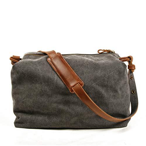 Jeelow Canvas Shoulder Tote Weekender Duffel Bag Handbags For Men & Women Leather Handles(Grey leather)
