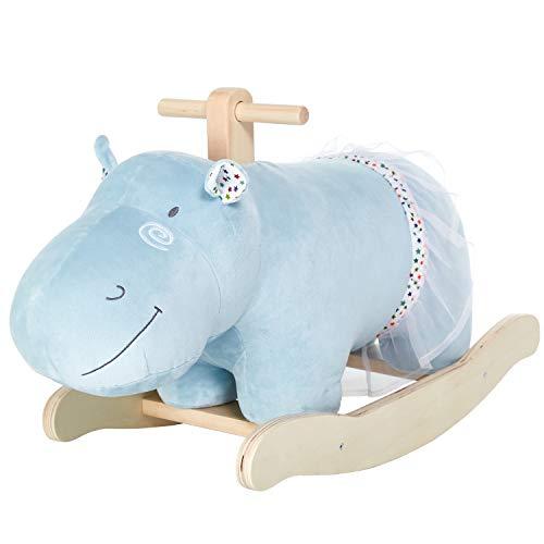 labebe Baby Rocking Horse, Wooden Plush Rocker Toy,Hippopotamus Baby Riding Horse, Toddler Outdoor&Indoor Toy Rocker, Plush Animal Rocker Chair