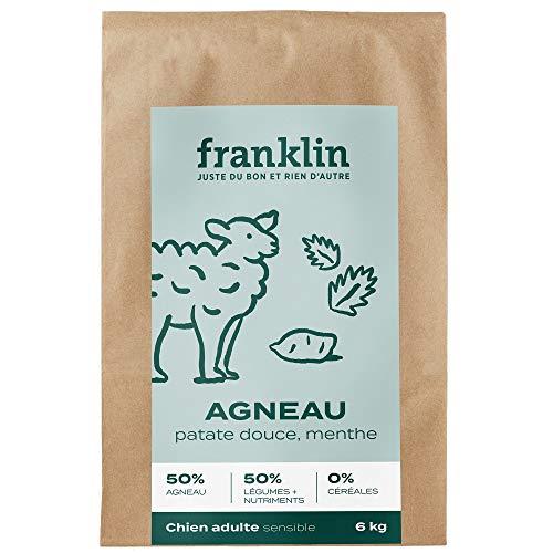 Franklin - Croquettes sans Céréales - Chien Adulte - Naturel - Hypoallergéniques – Estomacs Sensibles – Agneau, Patate Douce, Menthe - 6kg