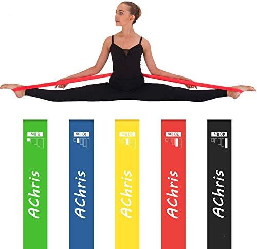 AChris Gomas Elasticas Musculacion Set de 5 Bandas de Resistencia Fitness Cintas Elásticas Fitness y Musculación de Látex Natural Fitness Bandas para Pilates, Yoga, Rehab, Fuerza