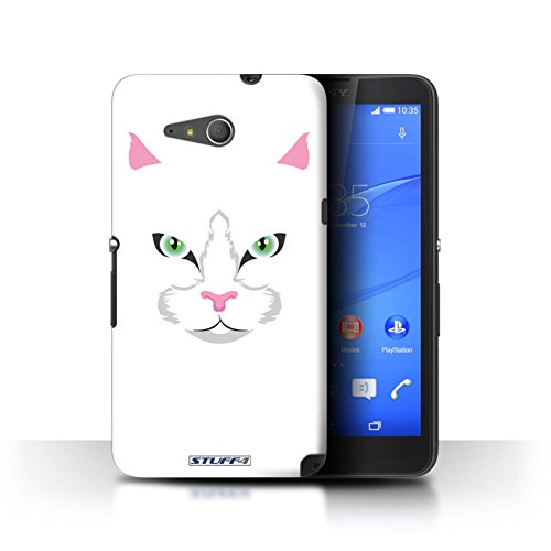Stuff4 Var voor GG-CC Chocolade Sony Xperia E4g Witte Kat