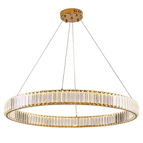 BABYCOW Plafoniera per Camera da Letto, lampadario a LED Semplice Creativo con Anello in Cristallo, lampadario Semi-Incasso in Cristallo dimmerabile con aspirazione a Sospensione a Doppio Scopo con