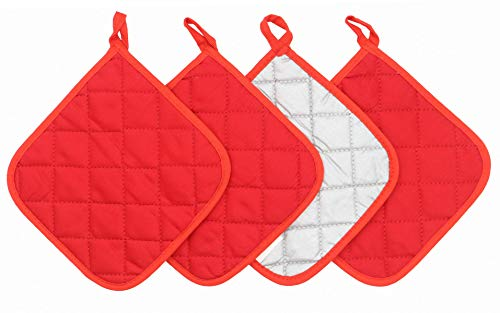 GQZLUCK 100% Cotton Pot Holders Cotton Made Machine Washable Heat Resistant Everyday Kitchen Basic Terry Pot Holder, Hot Pads, Trivet for Cooking and Baking Set of 4 (Red)