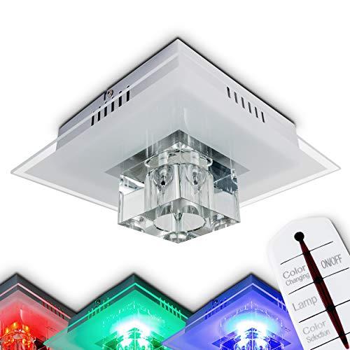 LED plafondlamp Genua, plafondlamp van metaal/glas in mat nikkel, vierkante lamp met glazen kubus, 1 vlam, met RGB-kleurwisselaar en afstandsbediening