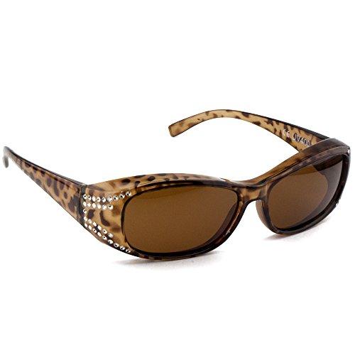 Figuretta Sonnenbrille Überbrille Leoparden-Optik mit Strass Optik