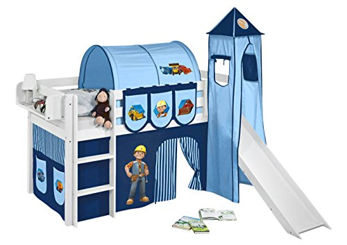 Lilokids Set Angebot - Spielbett JELLE Bob der Baumeister mit Rutsche - Hochbett Weiß - mit Vorhang, Turm, Tunnel und Taschen