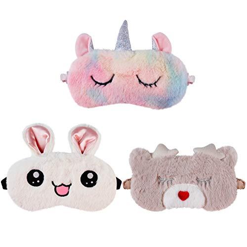 Aniwon 3 Piezas Antifaz para Dormir Mujer Niños Hombre paraNiñas Máscara para Dormir Antifaz de Unicornio para Niñas Hermoso Regalo