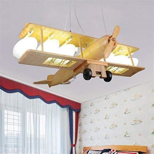 Yxsd vliegtuig, houten kandelaar, glazen lampenkap, warme kinderlamp voor creatieve kinderen, kaarsenstandaard, L70 * W64 * H 80 cm