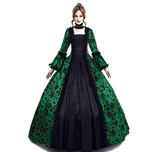 Medieval Queen Vitorian Dress Gothic Lace Bell Sleeve Ball Gown Renaissance Royal Fancy Masquerade Vampire Costume (Green, L)