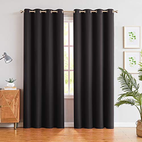 JUNFR Blackout Curtain Panels Window Draperies - Navy Blue, 52 x 63 inch, 2 Pieces, Insulating Room Darkening Blackout Drapes for Bedroom (Black, 52Wx95L)