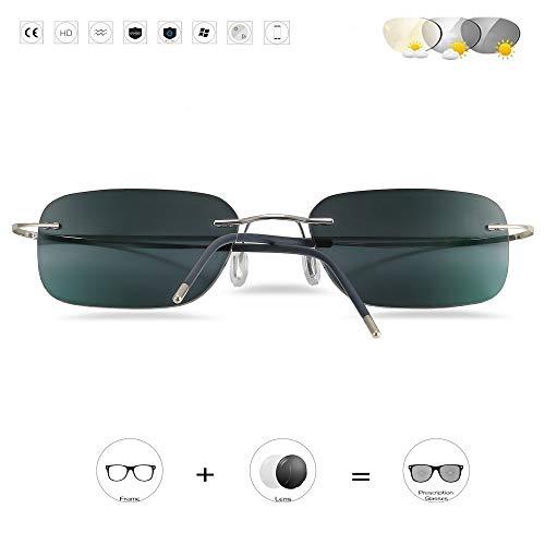 D&XQX fotochrome zonnebril titanium rechthoek randloos lichtgewicht leesbril UV400 asferische lens mode mannen en vrouwen bril +0 naar +3.50