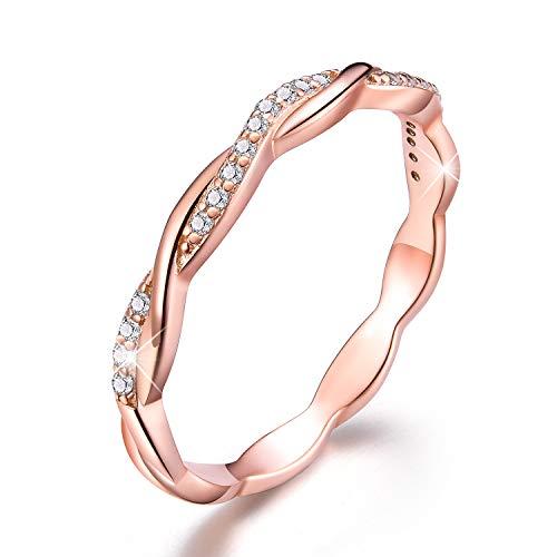 Esberry - Anillo de plata de ley 925 chapado en oro de 18 quilates - Alianza con forma entrelazada y circonita cúbica - Anillos apilables de compromiso y boda con diamantes de imitación para mujer