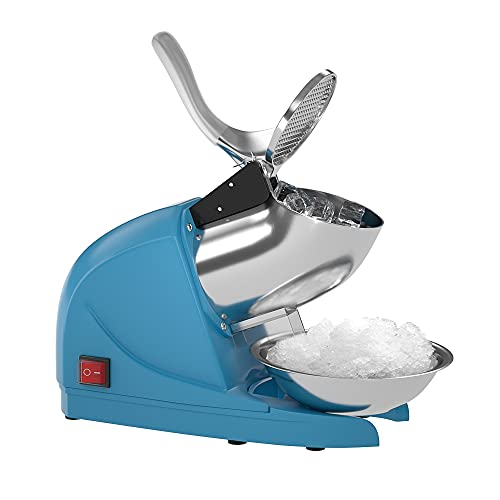 OKF Ice Shaver Prevent Splash Electric Three Blades Snow Cone Maker Stainless Steel Shaved Ice Machine 220lbs/hr Home and Commercial Ice Crushers (Blue)