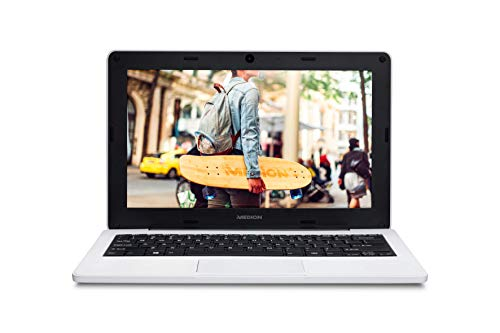 MEDION Notebook Education E11201 - Ordenador portátil de 11,6' HD (Intel Celeron N3450, 4GB de RAM, 64GB eMMC, Intel HD Graphics, Windows 10 Pro Academic) Color Blanco - Teclado Qwerty Español