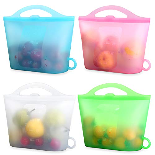 XUANMEIKE 100% Silicone Food Storage Bags 4 Packs of Reusable Food Storage Bags(Upright)Suitable for Storage of Various Foods Freezing, Keeping Fresh, Cooking, Heating(Blue White Pink Green)