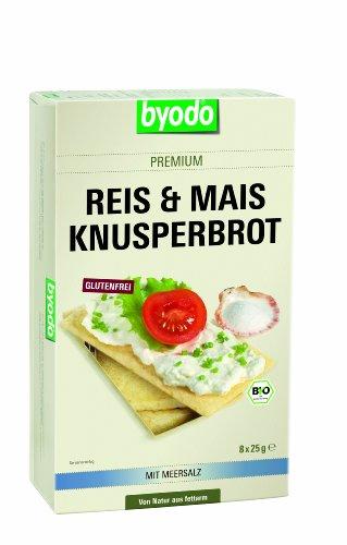 Byodo Reis & Mais Knusperbrot mit Meersalz, 6er Pack (6x 200 g Packung) - Bio