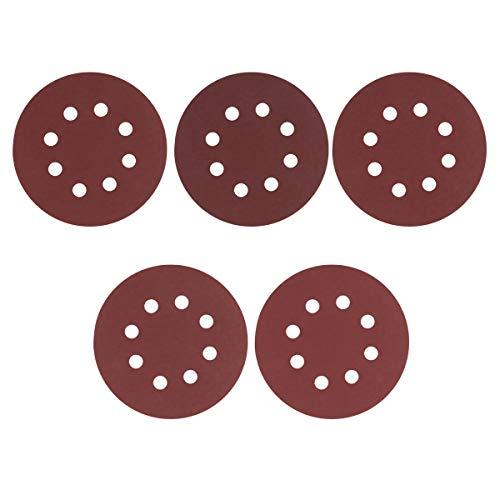 FEESHOW 30 Stück Schleifpapier Set Grit 60-2000 Schleifscheiben Pad Schleif-Polier-Pad 125mm Elektrisches Schleifzubehör für Exzenterschleifer Reddish Brown 60-240