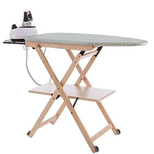 Arredamenti Italia Stirocomodo (621)- Tabla de planchar plegable, hecha en madera de haya maciza, ajustable 4 alturas 84 - 88 - 91 - 93 cm x 135 cm (ancho), acabado natural