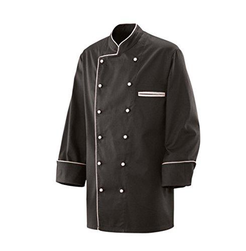 Exner Kochjacke Modell 207, Langarm, schwarz/weiße Paspelierung, Größe XL