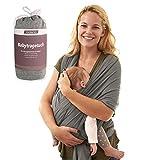 Premium Babytragetuch von Vidano - Baby Tragetuch für Neugeborene aus Baumwolle - Farbe Grau - inkl. Wickelanleitung
