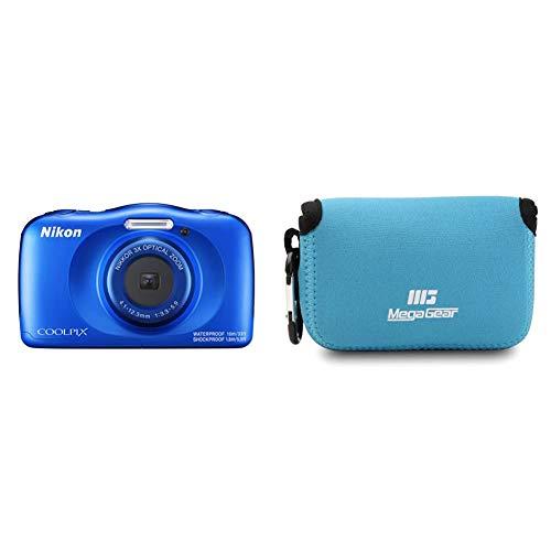 Nikon COOLPIX W150 Kamera, Blau und MegaGear MG791 Nikon Coolpix W100, S33 Ultraleichte Kameratasche aus Neopren - Blau