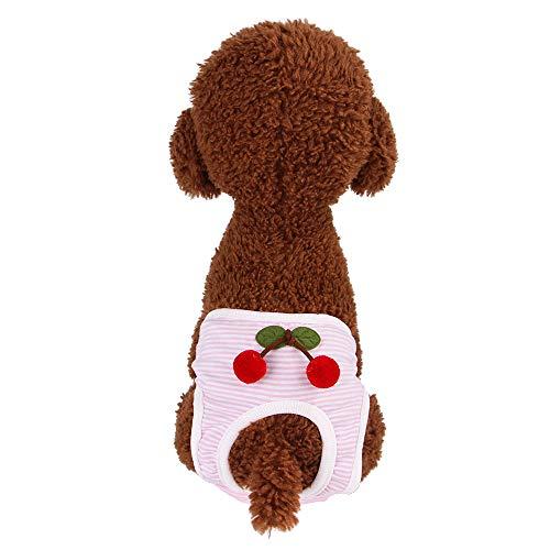 Vrouwelijke Hond Luiers Wasbaar, Herbruikbare Sanitaire Fysiologische Luier Broek Cherry Print Geschikt voor Puppies Meisje Hond, S, roze