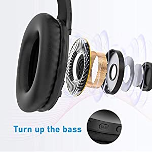 Bluetooth Headphones, LETSCOM 100 Hours Playtime Wireless Headphones Over Ear with Deep Bass, Hi-Fi Sound and Soft Memory Protein Earpads for Travel/Work -Black