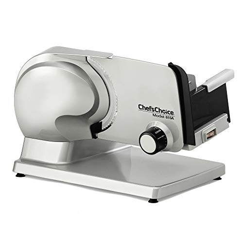 Chef'sChoice Electric Meat Slicer Features Precision thickness Control & Tilted Food Carriage For Fast & Efficient Slicing with Removable Blade for Easy Clean, 7-inch, Silver