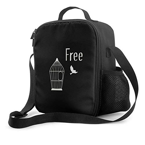 IUBBKII Bolsa de almuerzo con aislamiento White birdcage and bird Insulated Lunch Bag, Leakproof Flat Lunch Cooler Tote with Shoulder Strap for Men and Women, Suitable for Work Office
