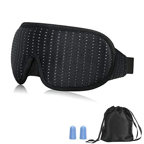 アイマスク 遮光 ノーズワイヤー付 自由に調整可能 軽量 柔らかい 圧迫感なし 睡眠 旅行 昼寝に最適 アイピロー 耳栓セット収納袋付