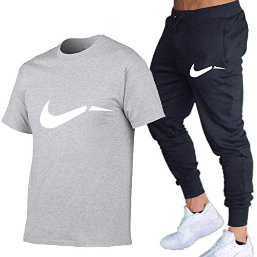 DREAMING-Spring And Summer Round Neck Leisure Sports Letter Printing Thin Men's Short Sleeve T-shirt + Trousers Two Piece Suit XX-Large