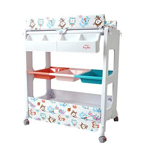 G-Changing Tables GUO@ Pad-Cover Wechseln Multifunktionaler Wickeltisch FüR Neugeborene Wickeltisch Pflegestation Baby Touch Massagebett Duschstange In Sich Geschlossene Wanne Mit RäDern