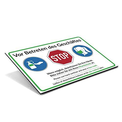 Hinweis-Schild Mundschutzpflicht/Vor Betreten des Geschäftes/Desinfizieren Sie Ihre Hände. Bitte ziehen Sie Sich Ihren Mundschutz an.  300x200 mm (mehrsprachig Deutsch Englisch Türkisch)
