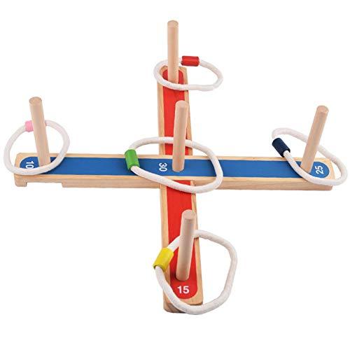 Buding Ringwurfspiel Für Kinder Party-Wurfspiele Outdoor Spielzeug Playtastic Outdoor-Ringwurfspiel Aus Holz Mit 5 Wurfringen, 1 Kreuz, 5 Spielstäben