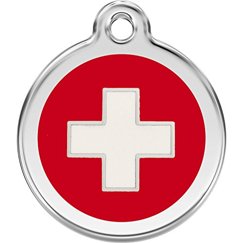 Red Dingo Personalized Swiss Cross Pet ID Dog Tag (Medium)