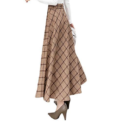 YKJL Herbst-Winter-Woll-Plaid Röcke verdicken Warm A-Linie Faltenröcke Damen-Weinlese mit hohen Taille Langen Rock-Frauen Wolle ausgestelltem Rock,Khaki,XL