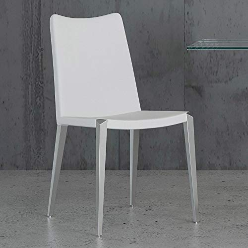 Zuri Modern Jordan Dining Chair in White Leatherette and Brushed Stainless Steel Base