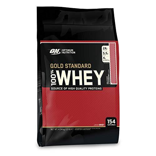 Optimum Nutrition ON Gold Standard Whey Protein Pulver, Eiweißpulver zum Muskelaufbau, natürlich enthaltene BCAA und Glutamin, Delicious Strawberry, 154 Portionen, 4,54kg, Verpackung kann Variieren