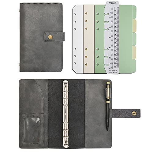 Carpeta de diario de cuero, cuaderno multifunción recargable, diario en espiral, papel de cuadrícula de puntos y bolsillos interiores de cuero real para hombre y mujer (Café, A6)