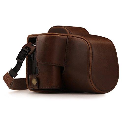 MegaGear Ever Ready - Funda para Canon EOS M50 (15-45 mm, de Cuero, con Correa) Color marrón Oscuro
