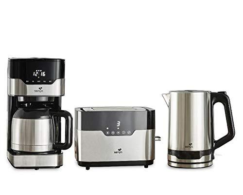 Senya Programmierbare elektrische Kaffeemaschine + Toaster mit 2 großen Slots + Wasserkocher aus Edelstahl Frühstücksset