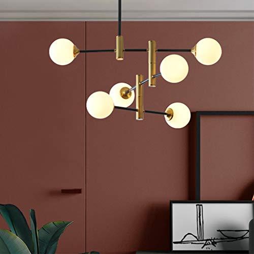 Moderne Kronleuchter Industrielle Innenbeleuchtung Deckenleuchte Glass Lampshade Kugelförmig Pendelleuchte Für Esszimmer Schlafzimmer Wohnzimmer Küche Restaurants Flur Lampe Gold,6 lights